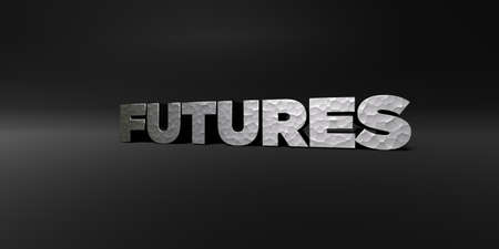 futures: FUTURES - hammered metal finish text on black studio - 3D rendered royalty free stock photo. This image can be used for an online website banner ad or a print postcard. Stock Photo