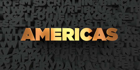 americas: Americas - Gold text on black background - 3D rendered royalty free stock picture. This image can be used for an online website banner ad or a print postcard. Stock Photo