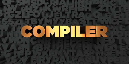 compiler: Compiler - Gold text on black background - 3D rendered royalty free stock picture. This image can be used for an online website banner ad or a print postcard.