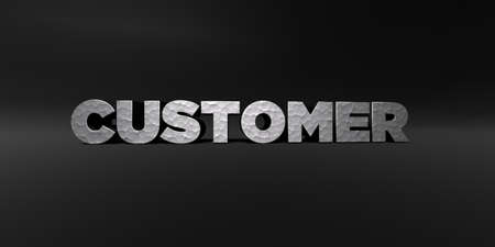 CUSTOMER - hammered metal finish text on black studio - 3D rendered royalty free stock photo. This image can be used for an online website banner ad or a print postcard.