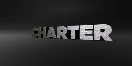 charter: CHARTER - hammered metal finish text on black studio - 3D rendered royalty free stock photo. This image can be used for an online website banner ad or a print postcard. Stock Photo