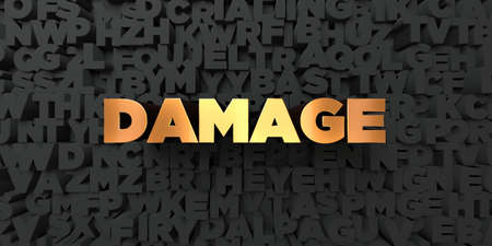 Damage - Gold text on black background - 3D rendered royalty free stock picture. This image can be used for an online website banner ad or a print postcard.