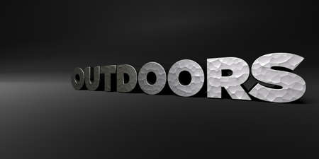 OUTDOORS - hammered metal finish text on black studio - 3D rendered royalty free stock photo. This image can be used for an online website banner ad or a print postcard.