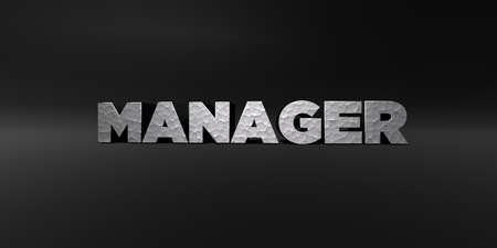 3d manager: MANAGER - hammered metal finish text on black studio - 3D rendered royalty free stock photo. This image can be used for an online website banner ad or a print postcard. Stock Photo