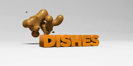 DISHES - 3D rendered colorful headline illustration.  Can be used for an online banner ad or a print postcard.