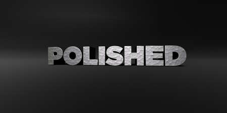 POLISHED - hammered metal finish text on black studio - 3D rendered royalty free stock photo. This image can be used for an online website banner ad or a print postcard.