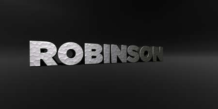 ROBINSON - hammered metal finish text on black studio - 3D rendered royalty free stock photo. This image can be used for an online website banner ad or a print postcard. Stock Photo