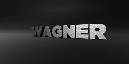 wagner: WAGNER - hammered metal finish text on black studio - 3D rendered royalty free stock photo. This image can be used for an online website banner ad or a print postcard. Stock Photo
