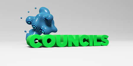 councils: COUNCILS -  color type on white studiobackground with design element - 3D rendered royalty free stock picture. This image can be used for an online website banner ad or a print postcard.
