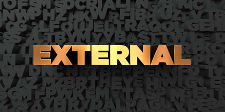 publicidad exterior: Externo - Texto del oro sobre fondo negro - 3D representa la imagen de stock libre de derechos. Esta imagen se puede utilizar para un anuncio bandera del Web site en línea o una postal de impresión.