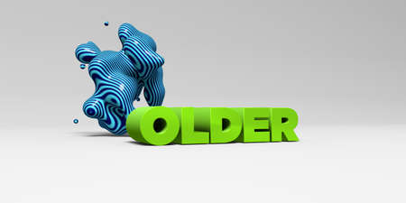older: OLDER -  color type on white studiobackground with design element - 3D rendered royalty free stock picture. This image can be used for an online website banner ad or a print postcard. Stock Photo
