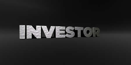 investor: INVESTOR - hammered metal finish text on black studio - 3D rendered royalty free stock photo. This image can be used for an online website banner ad or a print postcard. Stock Photo