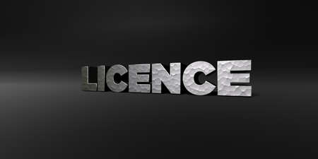 licence: LICENCE - hammered metal finish text on black studio - 3D rendered royalty free stock photo. This image can be used for an online website banner ad or a print postcard.
