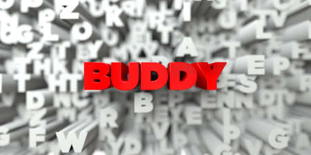 buddy: BUDDY -  Red text on typography background - 3D rendered royalty free stock image. This image can be used for an online website banner ad or a print postcard. Stock Photo