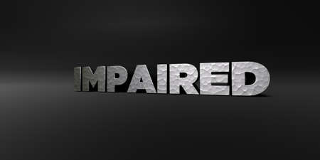 impaired: IMPAIRED - hammered metal finish text on black studio - 3D rendered royalty free stock photo. This image can be used for an online website banner ad or a print postcard.