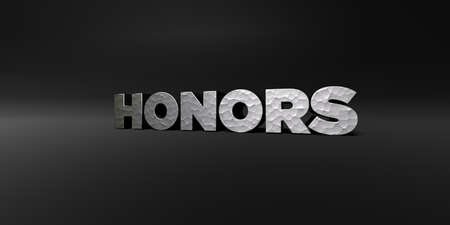 honors: HONORS - hammered metal finish text on black studio - 3D rendered royalty free stock photo. This image can be used for an online website banner ad or a print postcard. Stock Photo