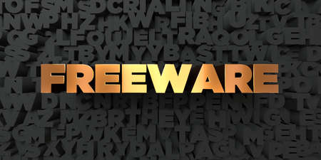 freeware: Freeware - Gold text on black background - 3D rendered royalty free stock picture. This image can be used for an online website banner ad or a print postcard. Stock Photo