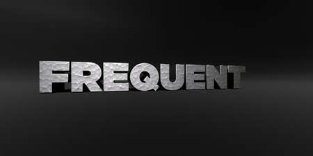 FREQUENT - hammered metal finish text on black studio - 3D rendered royalty free stock photo. This image can be used for an online website banner ad or a print postcard.