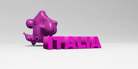 italia: ITALIA -  color type on white studiobackground with design element - 3D rendered royalty free stock picture. This image can be used for an online website banner ad or a print postcard.