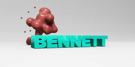 bennett: BENNETT -  color type on white studiobackground with design element - 3D rendered royalty free stock picture. This image can be used for an online website banner ad or a print postcard. Stock Photo