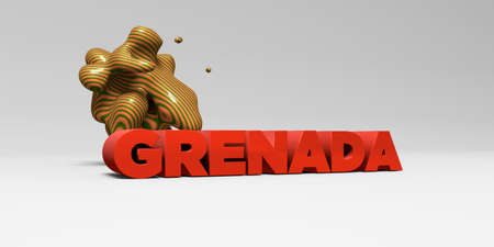 GRENADA - 3D rendered colorful headline illustration.  Can be used for an online banner ad or a print postcard.