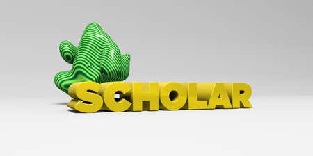 学者 - デザイン要素と白の studiobackground の色タイプ - 3 D レンダリングされたロイヤリティ フリー ストック画像。この画像は、オンラインの web サイ