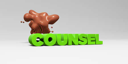 COUNSEL - 3D rendered colorful headline illustration.  Can be used for an online banner ad or a print postcard.