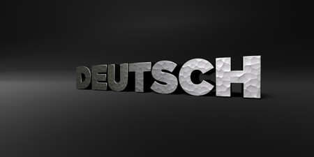 deutsch: DEUTSCH - hammered metal finish text on black studio - 3D rendered royalty free stock photo. This image can be used for an online website banner ad or a print postcard.