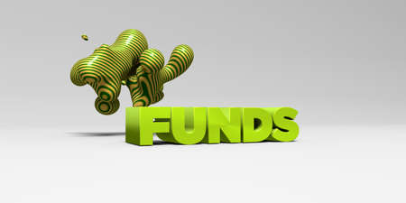 FUNDS - 3D rendered colorful headline illustration.  Can be used for an online banner ad or a print postcard. Stock Photo
