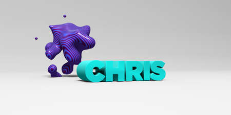 CHRIS -  color type on white studiobackground with design element - 3D rendered royalty free stock picture. This image can be used for an online website banner ad or a print postcard. Stock Photo