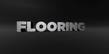 flooring: FLOORING - hammered metal finish text on black studio - 3D rendered royalty free stock photo. This image can be used for an online website banner ad or a print postcard.