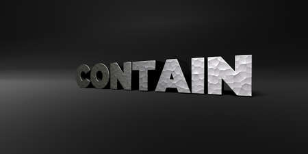 royalty free photo: CONTAIN - hammered metal finish text on black studio - 3D rendered royalty free stock photo. This image can be used for an online website banner ad or a print postcard. Stock Photo