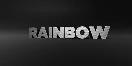 royalty free photo: RAINBOW - hammered metal finish text on black studio - 3D rendered royalty free stock photo. This image can be used for an online website banner ad or a print postcard.