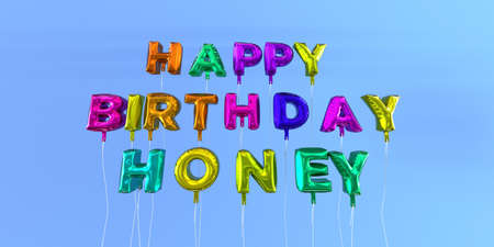 ecard: Happy Birthday Honey card with balloon text - 3D rendered stock image. This image can be used for a eCard or a print postcard.