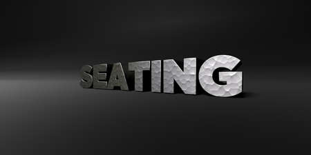 seating: SEATING - hammered metal finish text on black studio - 3D rendered royalty free stock photo. This image can be used for an online website banner ad or a print postcard. Stock Photo