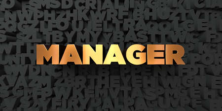 3d manager: Manager - Gold text on black background - 3D rendered royalty free stock picture. This image can be used for an online website banner ad or a print postcard.