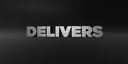 delivers: DELIVERS - hammered metal finish text on black studio - 3D rendered royalty free stock photo. This image can be used for an online website banner ad or a print postcard.