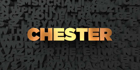 chester: Chester - Gold text on black background - 3D rendered royalty free stock picture. This image can be used for an online website banner ad or a print postcard. Stock Photo