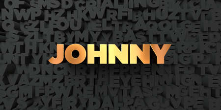 Johnny - Gold text on black background - 3D rendered royalty free stock picture. This image can be used for an online website banner ad or a print postcard.