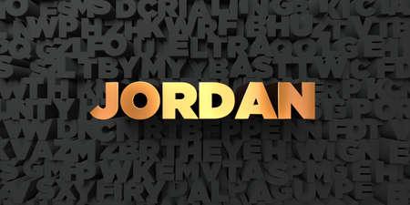 Jordanië - Gouden tekst op zwarte achtergrond - beeld 3D gerenderd royalty-vrije stock. Deze afbeelding kan worden gebruikt voor een online-banneradvertentie of een prentkaart.