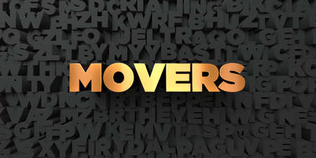 movers: Movers - Gold text on black background - 3D rendered royalty free stock picture. This image can be used for an online website banner ad or a print postcard.