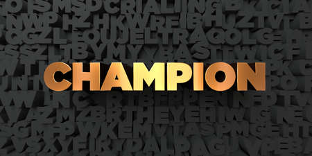 Champion - Gold text on black background - 3D rendered royalty free stock picture. This image can be used for an online website banner ad or a print postcard.
