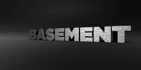 basement: BASEMENT - hammered metal finish text on black studio - 3D rendered royalty free stock photo. This image can be used for an online website banner ad or a print postcard.