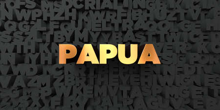 Papua - Gold text on black background - 3D rendered royalty free stock picture. This image can be used for an online website banner ad or a print postcard.