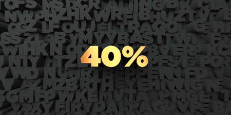 40: 40% - Gold text on black background - 3D rendered royalty free stock picture. This image can be used for an online website banner ad or a print postcard. Stock Photo