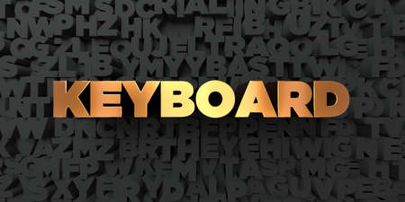 Keyboard - Gold text on black background - 3D rendered royalty free stock picture. This image can be used for an online website banner ad or a print postcard.