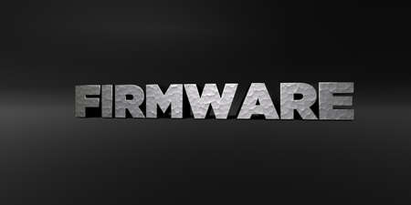 FIRMWARE - hammered metal finish text on black studio - 3D rendered royalty free stock photo. This image can be used for an online website banner ad or a print postcard.