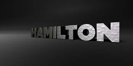 hamilton: HAMILTON - hammered metal finish text on black studio - 3D rendered royalty free stock photo. This image can be used for an online website banner ad or a print postcard.