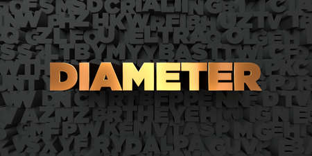 diameter: Diameter - Gold text on black background - 3D rendered royalty free stock picture. This image can be used for an online website banner ad or a print postcard. Stock Photo