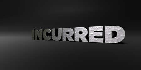 INCURRED - hammered metal finish text on black studio - 3D rendered royalty free stock photo. This image can be used for an online website banner ad or a print postcard. Stock Photo